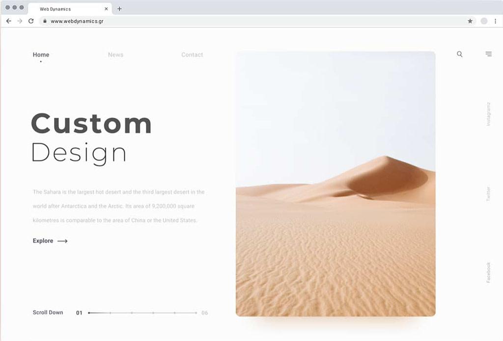 κατασκευή ιστοσελίδων με custom design